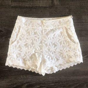 White floral lace shorts